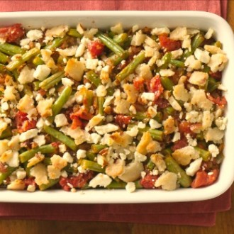 http://www.glutenfreeliving.com/recipes/sides/stewed-green-beans-crumb-topping/