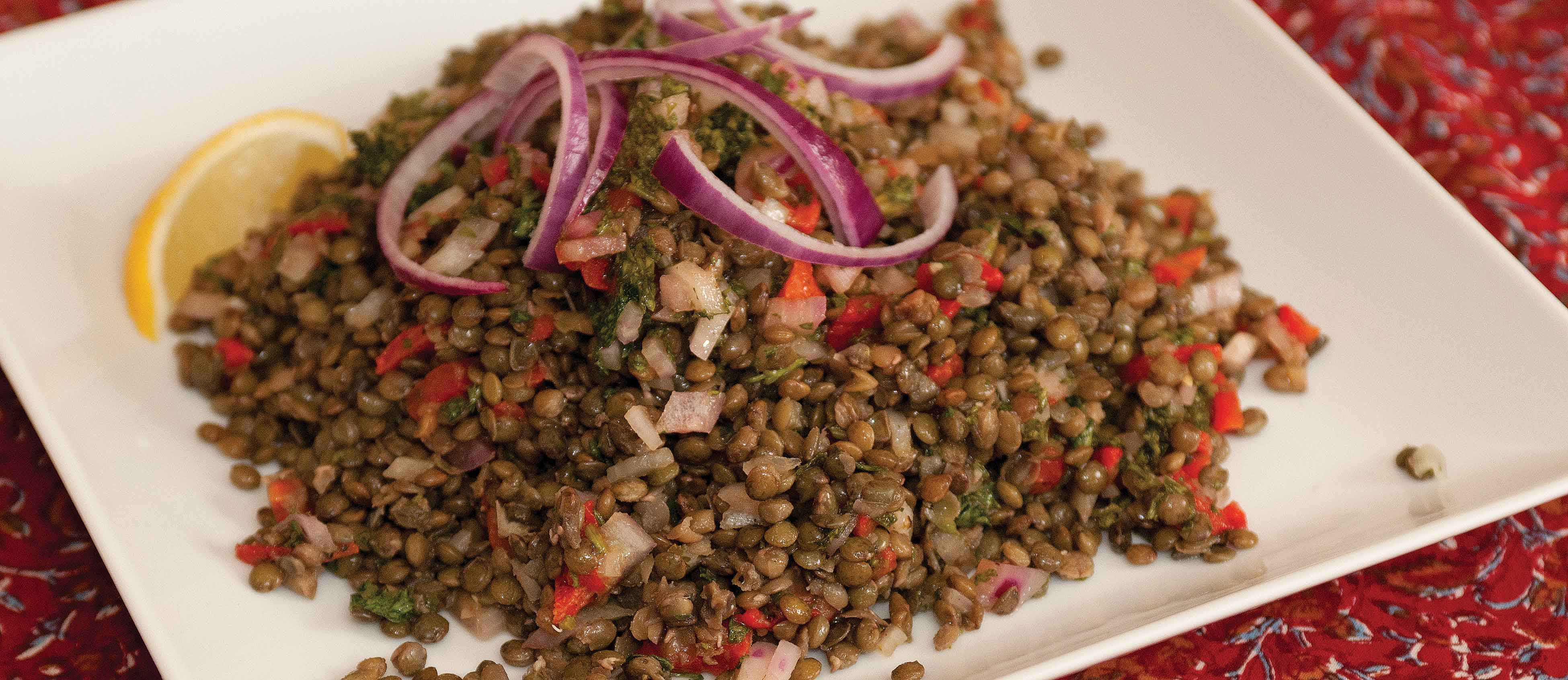 hearts roasted red pepper capers and basil dressing lentil salad with ...