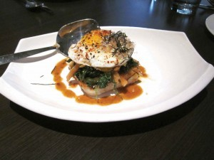 Gluten-free Japanese Bop with rose rice, egg, spinach & umeboshi plum at E&O Asian Kitchen, San Francisco
