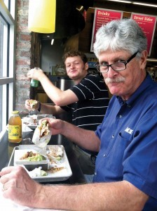 Father and son at hip Puesto Mexican Street Food in La Jolla