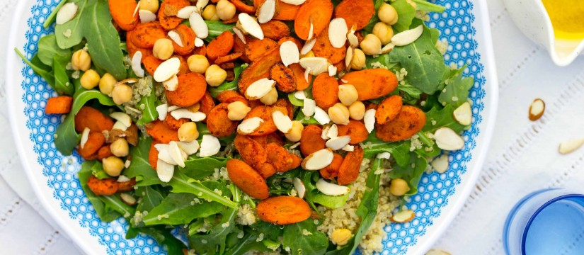 Roasted Carrot, Chickpea & Quinoa Salad with Citrus Dressing
