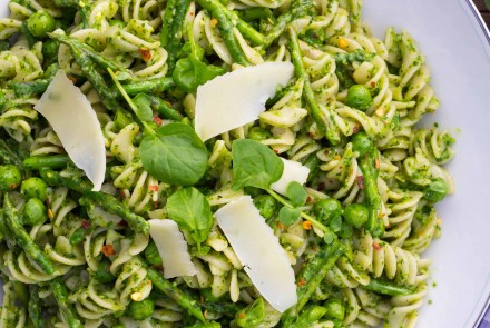 Watercress Pesto Pasta with Peas and Asparagus