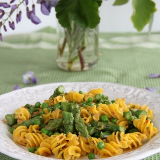 Gluten-Free Pasta Carbonara with Asparagus and Peas from Kristine Kidd