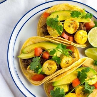 Black Bean & Roasted Plantain Tacos with Avocado from She Likes Food