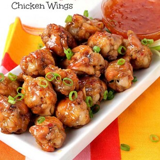 Crispy, Sweet & Spicy Chicken Wings from The Baking Beauties
