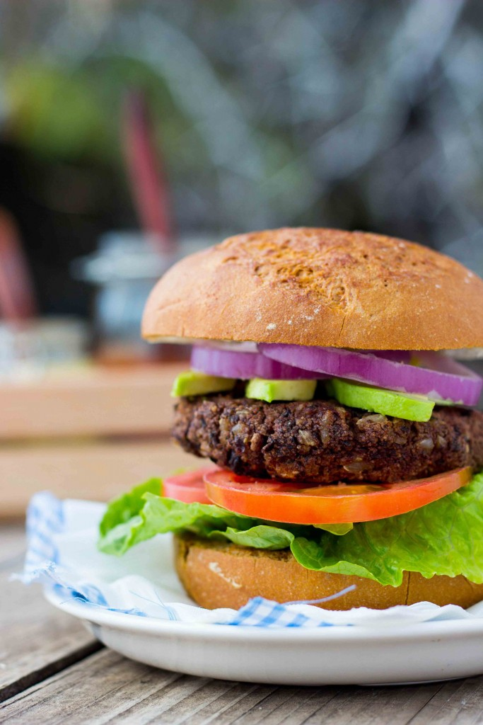 Gluten-free grilled Southwest Black Bean Veggie Burgers