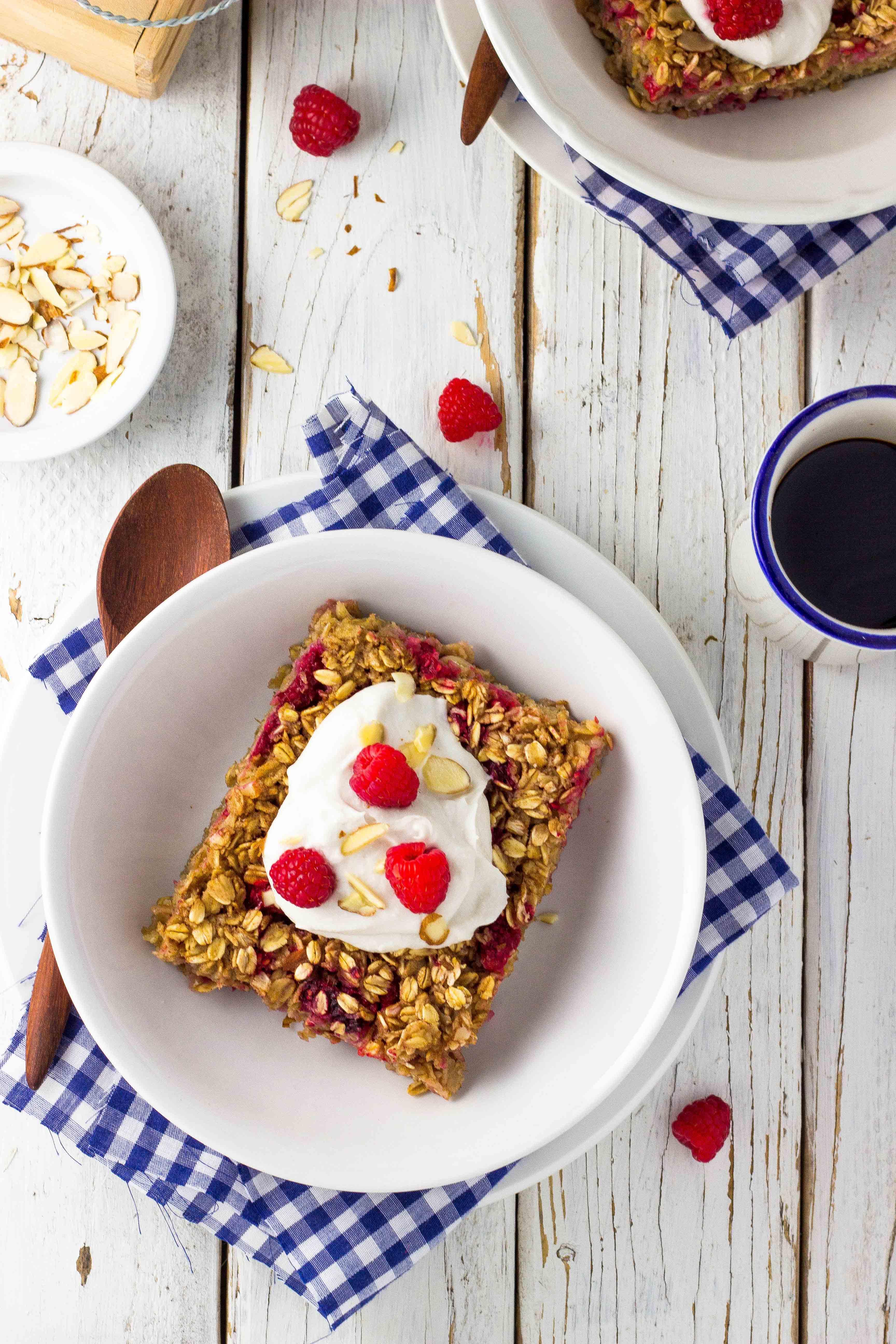 Gluten-free raspberry oatmeal bake