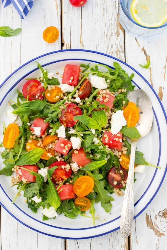 Gluten-Free Sorghum Arugula Watermelon Feta Salad