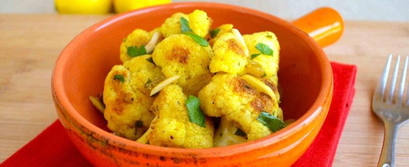 Sunkist® Pan-Roasted Lemon-Curry Cauliflower with Almonds and Golden Raisins