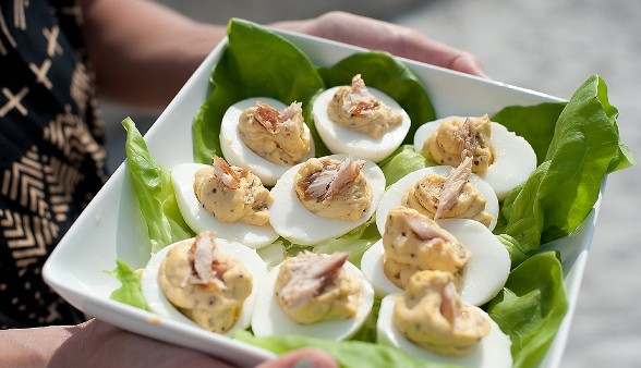 Smoked Mullet Deviled Eggs