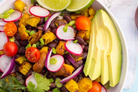 Spring Burrito Bowls with Cilantro Lime Dressing