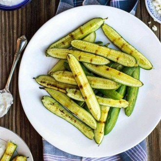 Grilled Cucumbers with Pickled Feta Dip