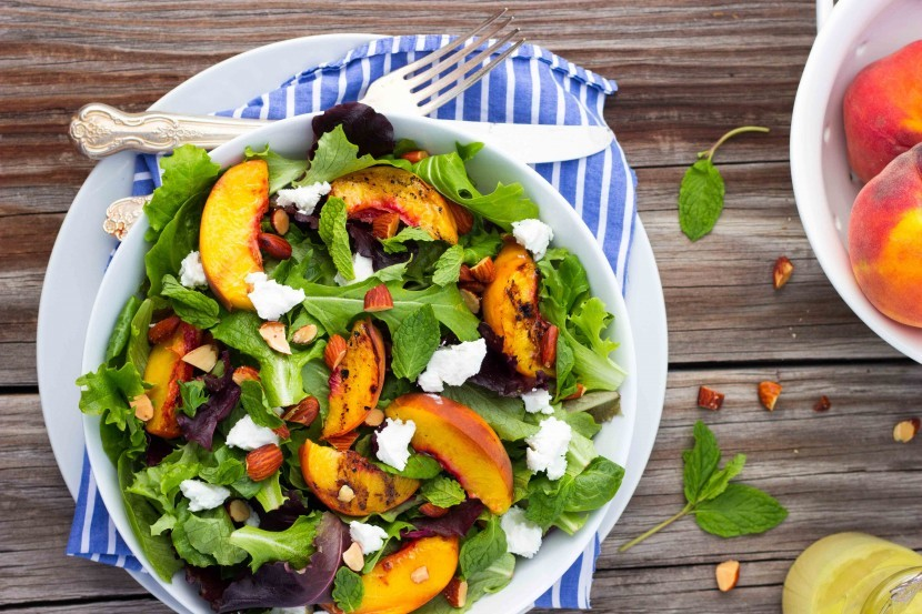 Gluten-free Grilled Peach Salad with Goat Cheese