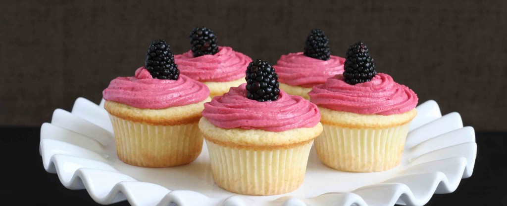 Gluten-free lemon cupcakes with blackberry buttercream