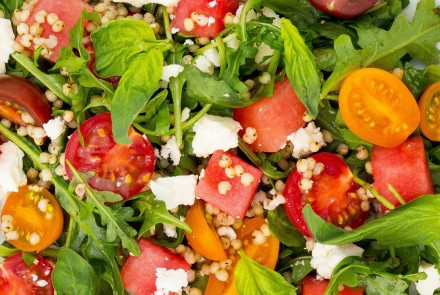 Summer Sorghum Salad with Watermelon, Feta and Tomatoes