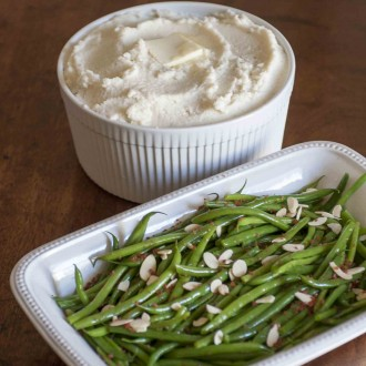 Fluffy Pureed Cauliflower and Updated Green Beans