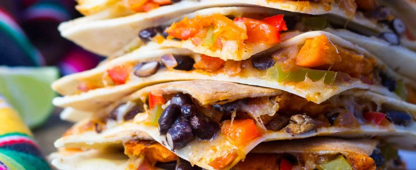 Roasted Sweet Potato Fajita and Black Bean Quesadillas