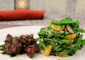 Grilled Marinated Filet Tips  and Vegetable Salad
