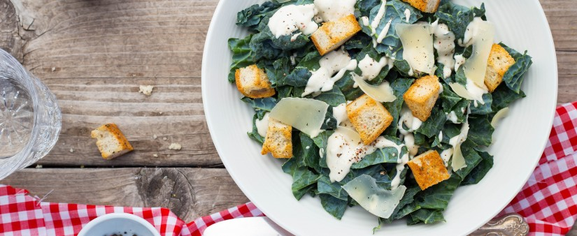 Kale Caesar Salad with Herbed Croutons