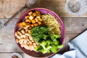 Quinoa, Tofu, White Bean and Broccoli Bowls with Pesto