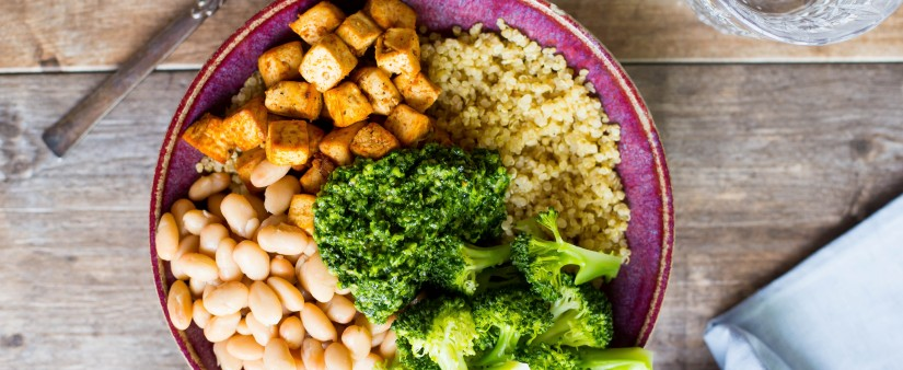 Quinoa, Tofu, White Bean and Broccoli Bowls with Pesto