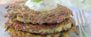 Zucchini Pancakes with Cilantro-Yogurt Sauce