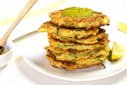 Gluten-Free Corn and Zucchini Fritters With Easy Pesto Dipping Sauce