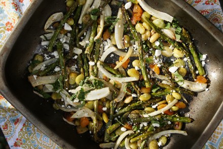 Warmed Asparagus, Fennel & Minted Fava Bean Salad with Apricots & Feta