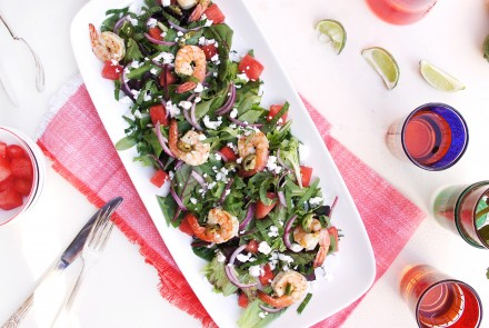 Watermelon Salad with Spicy Citrus Grilled Shrimp & Feta