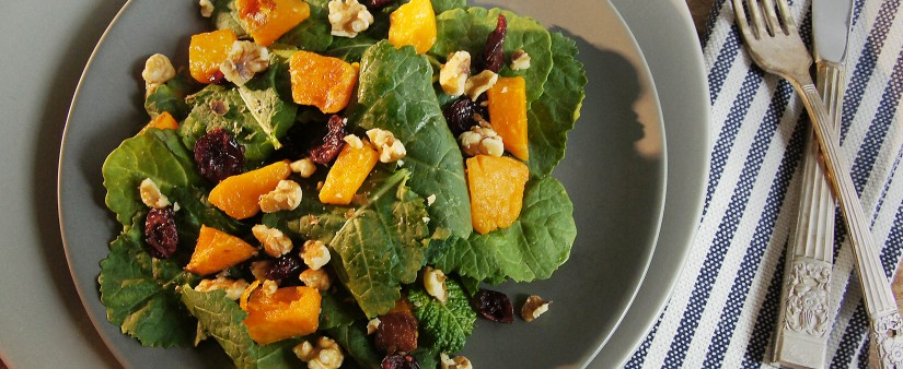 Warm Pumpkin and Kale Salad With Agave Mustard Dressing