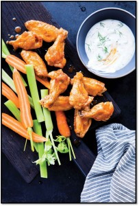 Celebrations buffalo wings with herb ranch dressing FRAMED