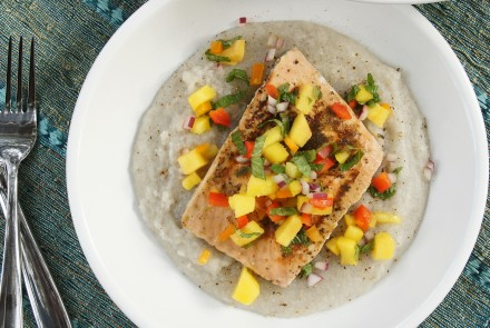 Grilled Mango & Lime Salmon with Creamy Fonio