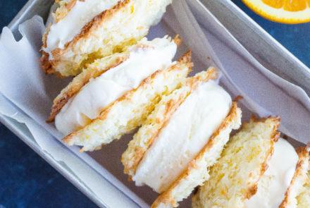 Orange Cream Macaron Ice Cream Sandwiches