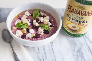Beet Root Porridge with Toasted Almonds, Goat Cheese and Basil
