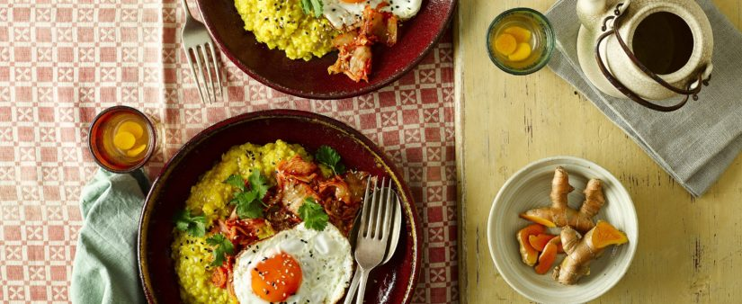 Turmeric Steel Cut Oats with Kimchi and Fried Egg