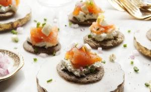 Buckwheat Blinis with Chive Cream Cheese & Smoked Salmon