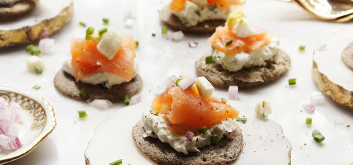 Buckwheat Blinis with Chive Cream Cheese & Smoked Salmon