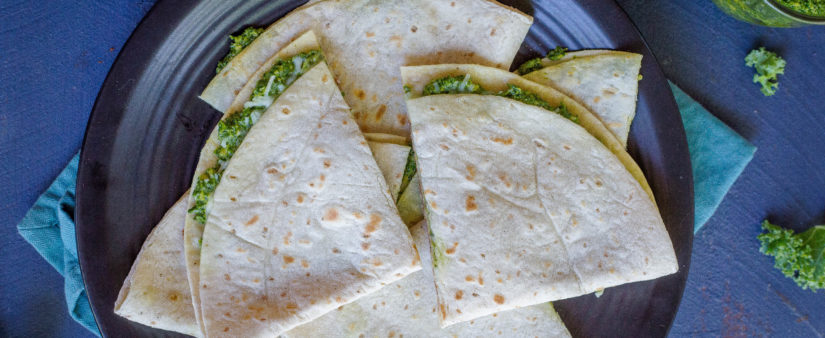 Kale Pesto Quesadillas