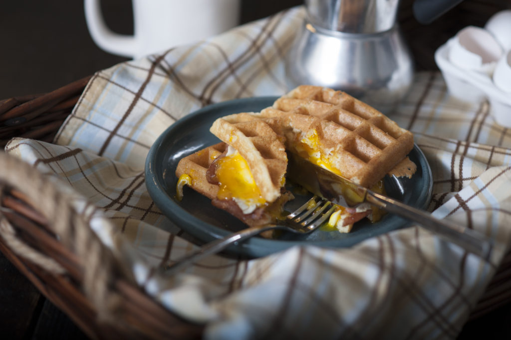 Gluten-Free Pork Roll, Egg and Cheese Waffle Sandwich