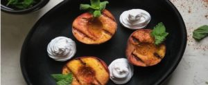 Grilled Peaches with Coconut Whipped Cream and Mint