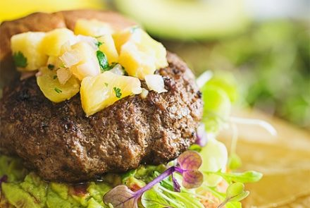 SPONSORED: Burger with Pineapple Salsa and Guacamole on Canyon Bakehouse Gluten-Free Buns