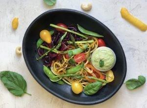 Colorful Noodle Primavera with Cashew Cream Herb Sauce