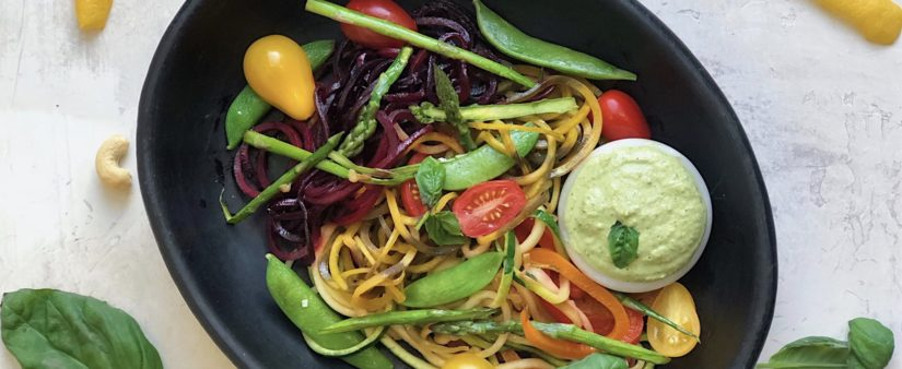 Colorful Noodle Primavera with Cashew Cream Herb Sauce