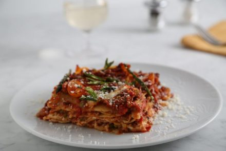 SPONSORED: Gluten-free Lasagna with Ground Meat, Asparagus, Tomatoes + Carrots