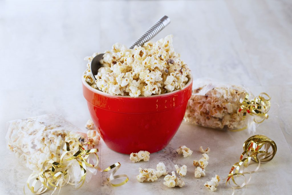 Bowl of cinnamon white chocolate popcorn