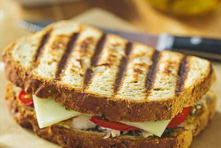 Canyon Bakehouse Turkey Panini with Pesto and Pickled Peppers — Sponsored