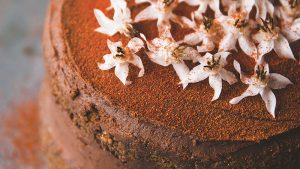 Pecan Layer Cake with Spicy Mexican Hot Chocolate Ganache