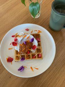 Waffles with Papaya Jam and Coconut Cream