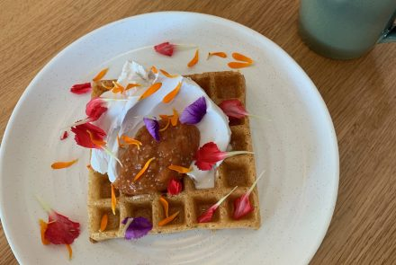 Waffles with Papaya Jam and Coconut Cream