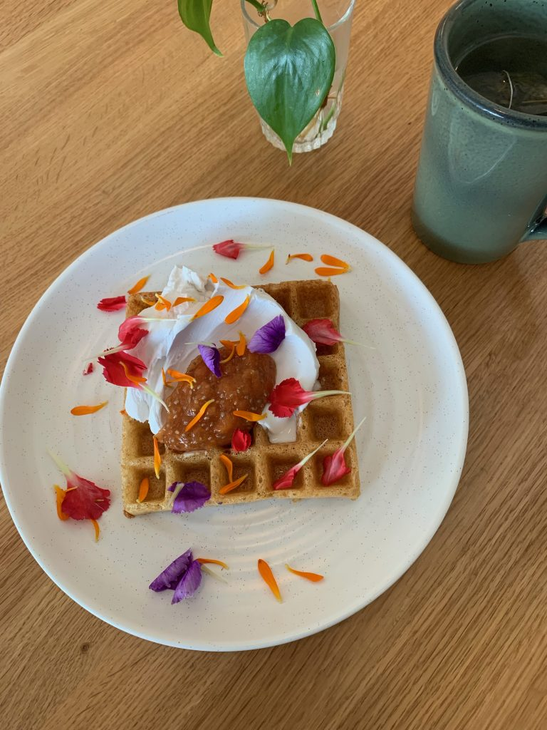 Gluten-Free Waffles with Papaya Jam and Coconut Cream